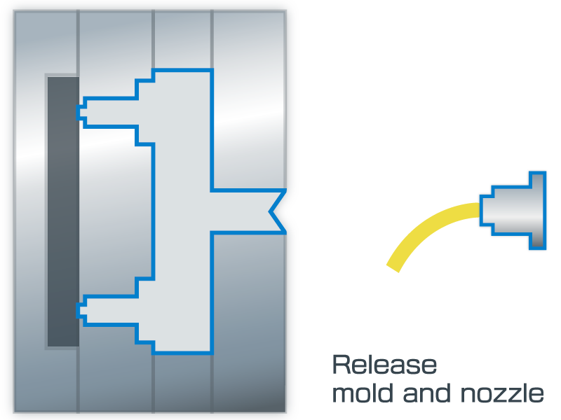 Release mold and nozzle